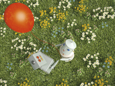 Male and female robot standing with balloon on flower meadow, 3D rendering - UWF000638