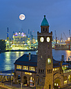 Germany, Hamburg, harbor, Clock Tower Landungsbruecken in the evening - RJ000525