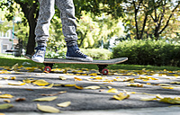 Boy riding skateboard in park in autumn - DEGF000564