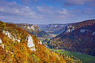 Germany, Baden Wuerttemberg, Upper Danube Nature Park, View of Upper Danube Valley and Werenwag Castle in autumn - WG000754