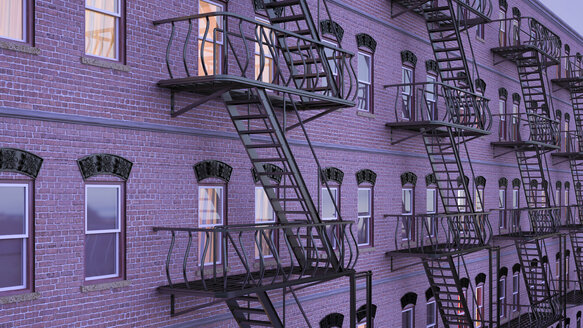 Facade of multi-family house with fire escape staircases at blue hour, 3D Rendering - UWF000645