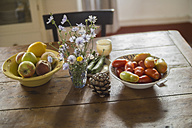 Flowers, fruit and vegetable on table - RIBF000328