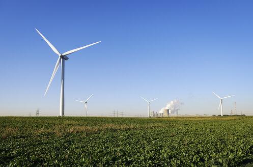 Germany, North Rhine-Westphalia, Neurath, Wind wheels and mining power plant - GUFF000157