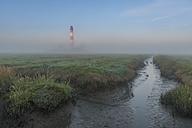 Germany, Schleswig-Holstein, North Sea Coast, View of Westerheversand Lighthouse, fog - KEBF000278