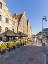 Belgium, East Flanders, Ghent, Old town, Graslei, guild houses, pavement restaurant - WD003342