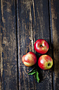 Three red apples and leaves on dark wood - CSF026642
