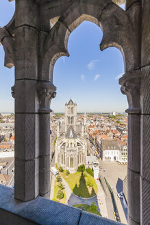 Belgium, Ghent, old town, cityscape with St. Nicholas Church - WDF003352
