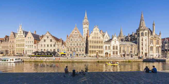 Belgium, Ghent, old town, Graslei, historical houses at River Leie - WDF003367