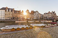 Belgium, Ghent, old town, Korenlei, historical houses at River Leie - WDF003370