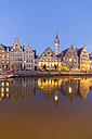 Belgium, Ghent, old town, Graslei, historical houses at River Leie at dusk - WDF003376