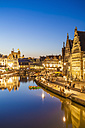 Belgium, Ghent, old town, Graslei, historical houses at River Leie at blue hour - WDF003379