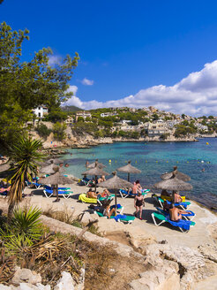 Spain, Mallorca, Beach and bay of Cala Fornells - AM004373
