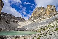 Italy, Dolomites, Sella mountain range, Sass del Lec and lake Pisciadu - LOMF000088