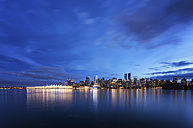 Canada, Vancouver, view to skyline at dusk seen from Stanley Park - SMAF000389