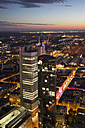 Germany, Hesse, Frankfurt, Cityview with silver tower in the evening - WI002892