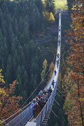 Germany, Rhineland-Palatinate, Hunsrueck, Saar-Hunsrueck-Steig, Swing Bridge Geierlay - BSC000505