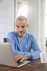 Mature man working from home using laptop - FKF001582