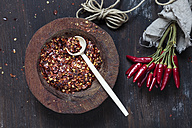 Bunch of red chili peppers, cord and plate of chili flakes on wood - SBDF002411