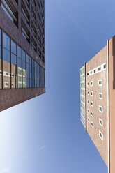 Germany, Dortmund, view to facades of Dortmund U-Tower from below - WIF002928