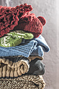 Stack of warm clothing - DEGF000589