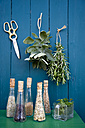 Decoration with drying herbs, scissors and glass bottles of seeds - GIS000181
