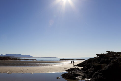 Canada, Vancouver Island, Longbeach, People taking a walk at the beach - TM000060