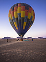 Namibia, Kuala Wilderness Reserve, People at air balloon at sunrise - AM004450