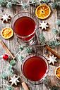 Two glasses of mulled wine at Christmas time - SARF002332
