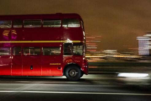 UK, London, driving double-decker bus at night - MAU000072