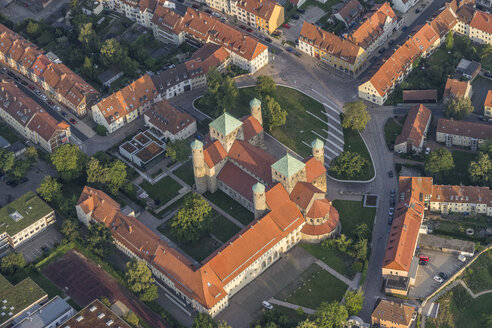 Germany, Hildesheim, aerial view of St Michael's Church in the evening - PVC000718