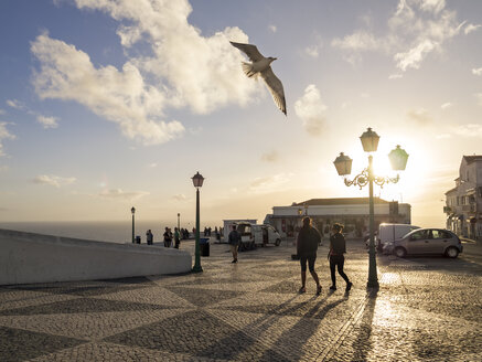 Portugal, Nazare, promenade and observation point in Sitio at sunset - LA001576