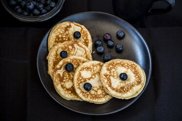 Plate of pancakes and blueberries - SARF002351