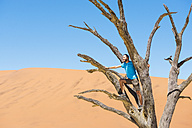 Namibia, Namib Desert, man on dead tree in Deadvlei - GEMF000523