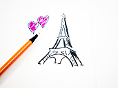 Eiffel Tower and hearts, drawn, pencil - AMF004490