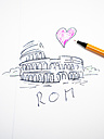 Colosseum in Rome, drawn, heart, symbolical picture - AMF004493