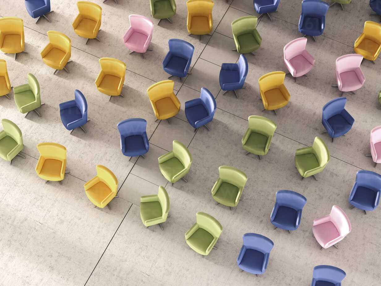 3d Rendering, Colorful chairs in hall - UWF000689 - HuberStarke/Westend61