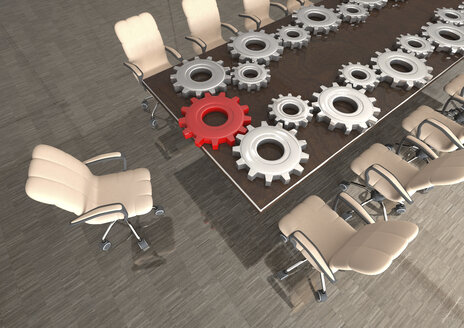 Conference room with gears on table, 3D Rendering - ALF000664