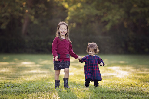 Two little girls walking hand in hand on a meadow - LITF000069
