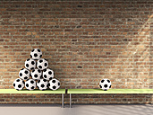 Stack and a single soccer ball on benches in a changing room, 3D Rendering - UWF000698