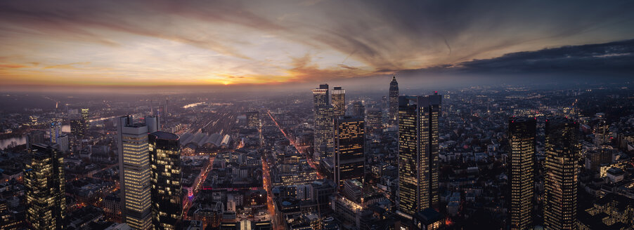 Germany, Frankfurt, elevated view to the city at sunset - ZM000446