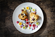 Chocolate muffins with candies on plate - EVGF002528