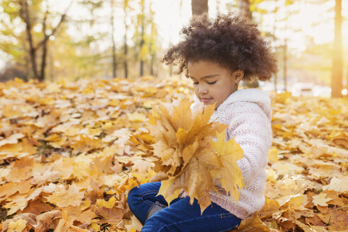 Little girl playing in autumn park - HAPF000007