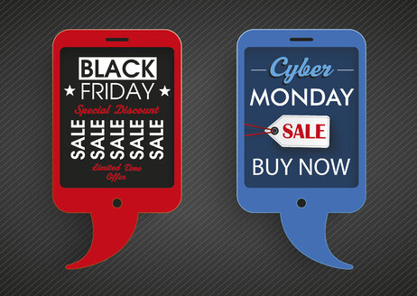 Illustration, 2 smartphone speech bubbles for black friday and cyber monday sale - ALF000665