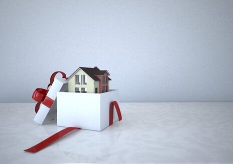 Residential house in a gift box, 3D Rendering - ALF000667
