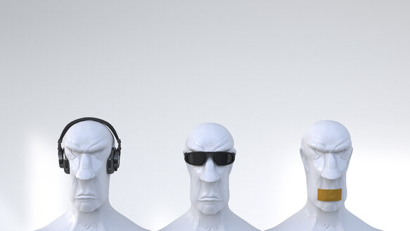 Busts representing the three monkeys, 3D Rendering - UWF000702