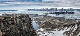 Greenland, Schweizerland, Kulusuk, one person on viewpoint - ALRF000230