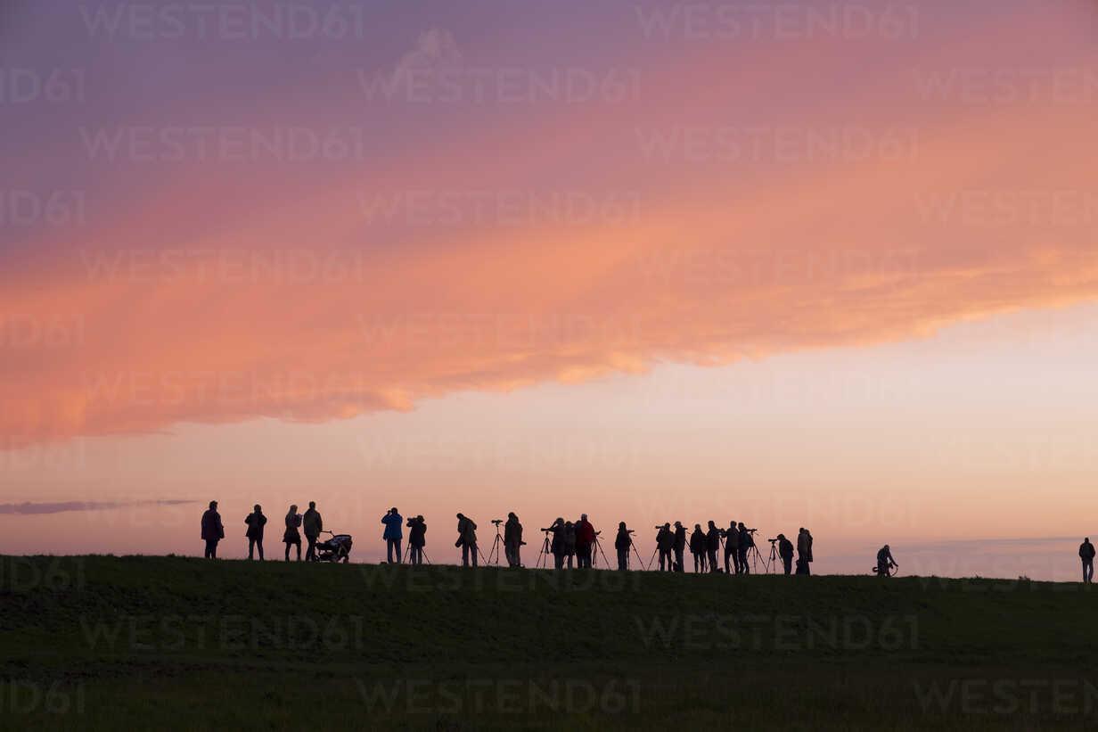 Germany, Zingst, silhouettes of birdwatchers at Barther Bodden in evening twilight - SIE006897 - Martin Siepmann/Westend61
