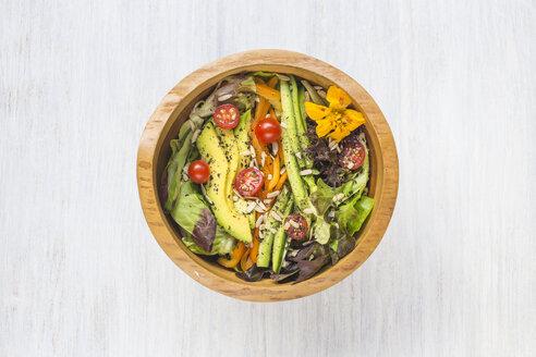 Wood bowl of mixed salad - KNTF000213