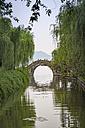China, Zhejiang, Hangzhou, Historic Bridge crossing a small chanel at the west lake shore - NKF000419
