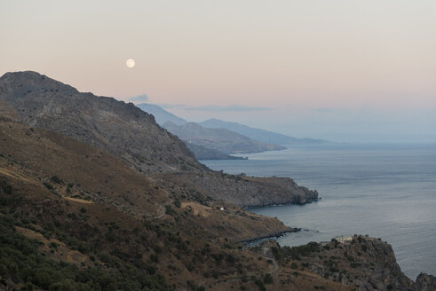Greece, Crete, South coast in the evening, full moon - KAF000125